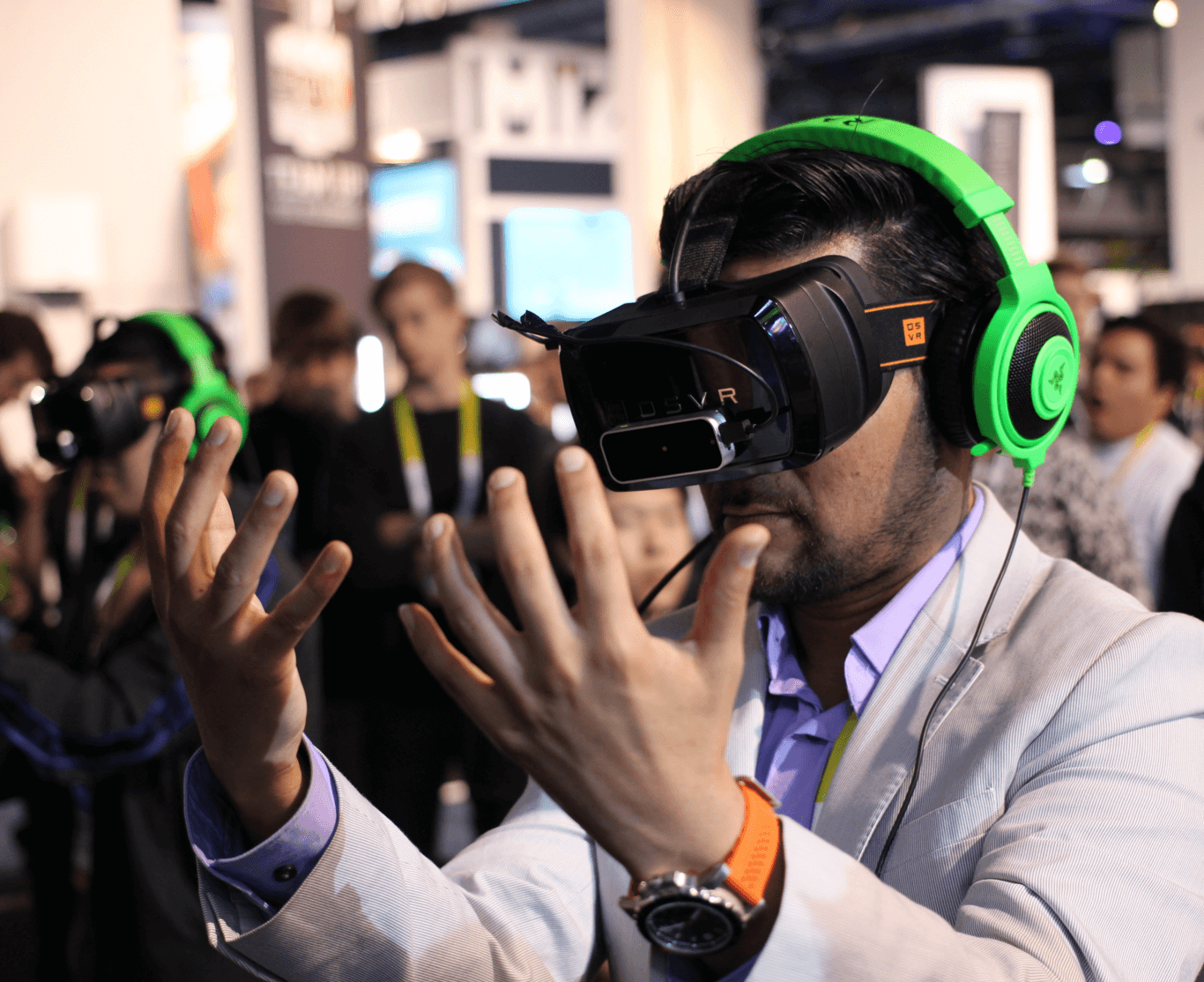 The Future of Virtual Reality (photo of man with headset)
